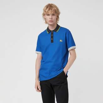 Burberry Tipped Cotton Pique Polo Shirt , Size: M, Blue