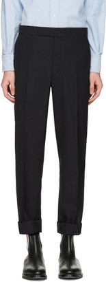 Thom Browne Navy Classic Backstrap Trousers $1,010 thestylecure.com