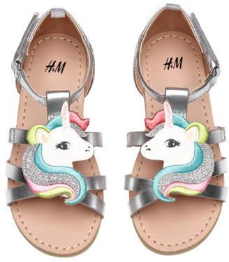 H&M Sandals with Applique - Silver