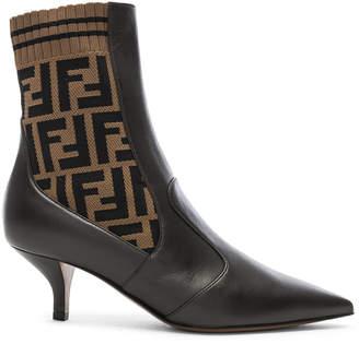 Fendi Rockoko Logo Ankle Boots in Black & Brown | FWRD