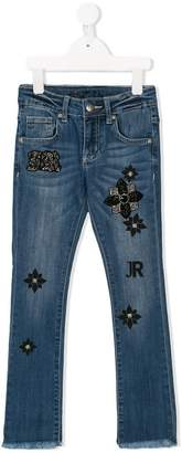 John Richmond Junior embellished logo patch jeans