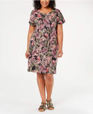 21f3d5c7 Karen Scott Plus Size Short-Sleeve Jungle-Print Dress