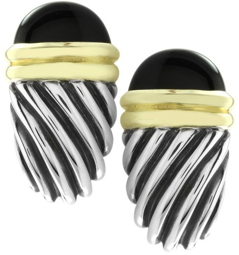 David Yurman Sterling Silver & 14K Yellow Gold Onyx Cable Omega Back Earrings