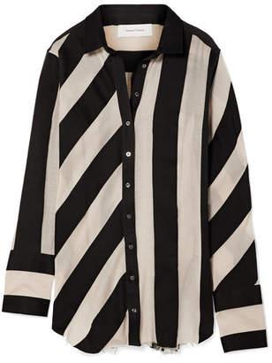 Marques Almeida Marques' Almeida - Striped Cotton And Silk-blend Gauze Shirt - Black