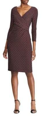 Lauren Ralph Lauren Geometric-Print Jersey Faux Wrap Dress