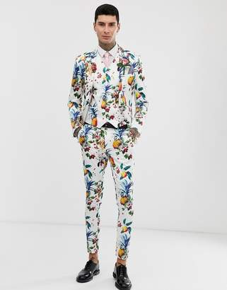 Asos Design DESIGN wedding super skinny suit pants with all over fruit floral print