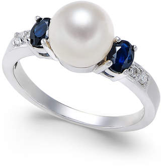 Macy's Cultured Freshwater Pearl (7mm), Sapphire (5/8 ct. t.w.) & Diamond Accent Ring in 14k White Gold