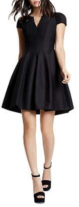Halston Dress - Short Sleeve Notched Neck Tulip Skirt