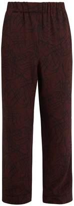 Raey Squiggle-print silk-crepe pyjama trousers