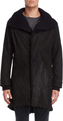 Transit Uomo Black Leather Parka