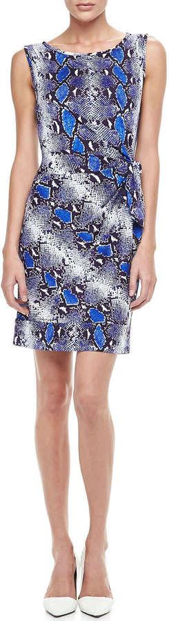 Diane von Furstenberg New Della Python-Print Dress, Pop Blue