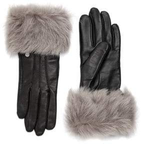 8a12f3e1b UGG Dyed Shearling Trimmed Leather Gloves