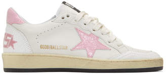 Golden Goose White and Pink Ball Star Sneakers