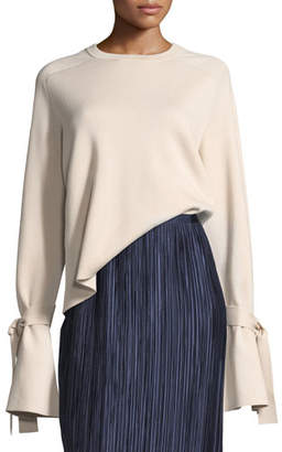 Tibi Silk-Back Crewneck Bell-Sleeve Wool Top