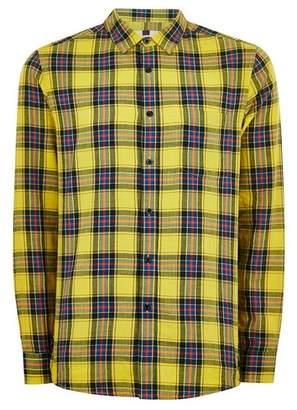 Topman Mens Yellow Check Long Sleeve Shirt