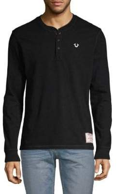 True Religion Logo Cotton Henley