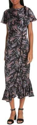 Cinq à Sept Nanon Snapdragon Print Silk Dress