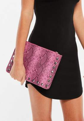 Missguided Pink Snake Zip Top Clutch Bag