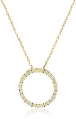 14k Created Pink Opal Open Circle Pendant Necklace