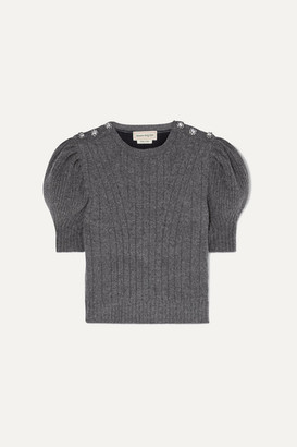 Alexander McQueen Cropped Crystal-embellished Wool-blend Sweater - Gray