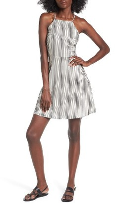 Women's Lush Stripe Linen & Cotton High Neck Dress $45 thestylecure.com