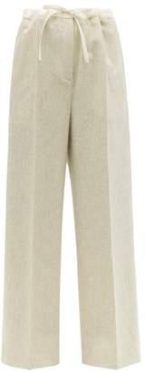 Jil Sander Drawstring Waist Wool Blend Wide Leg Trousers - Womens - Light Grey