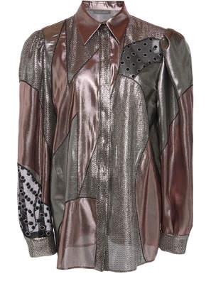 Alberta Ferretti Metallic Patchwork Silk Blend And Tulle Shirt