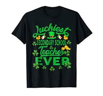 St Patricks Day Teacher Shirt Secondary School Luckiest Gift