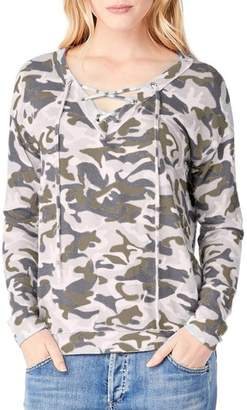 Michael Stars Lace-Up Camo Print Top
