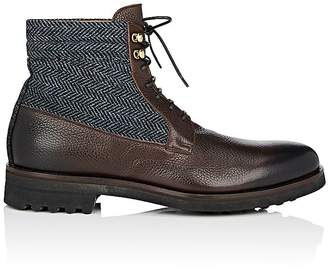 Doucal's Men's Herringbone-Detailed Leather Lace-Up Boots