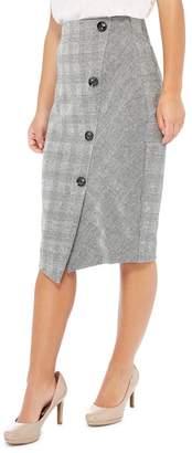 Principles Petite - Black Checked Print Ponte Knee Length Petite Skirt