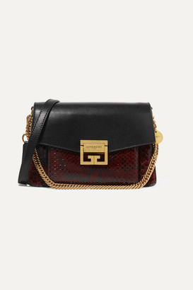 Givenchy Gv3 Small Leather And Python Shoulder Bag - Dark brown