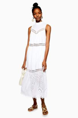Topshop PETITE Sleeveless Broderie Dress