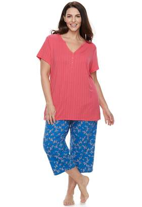 Croft & Barrow Plus Size Henley Tee & Capri Pajama Set