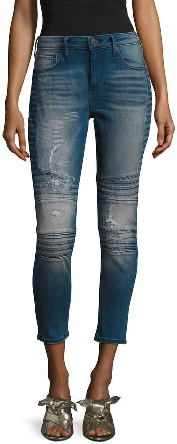 True Religion Women's Halle Super Skinny Fit Motorcycle Jeans