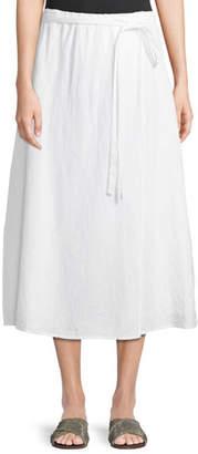 Eileen Fisher Faux-Wrap Linen Midi Skirt, Petite