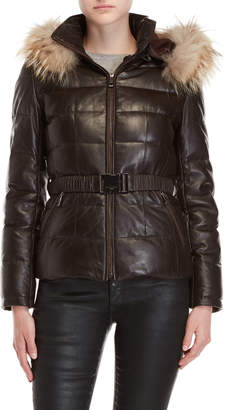 Intuition Real Fur Trim Hooded Quilted Leather Jacket