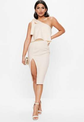 Missguided Nude One Shoulder Bow Sleeve Midi Dress