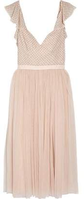 Needle & Thread Swan Beaded Georgette And Tulle Dress