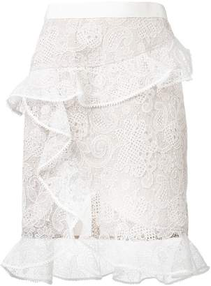 Self-Portrait frill lace skirt