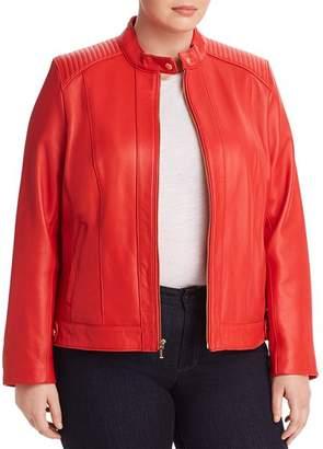 Cole Haan Plus Leather Moto Jacket