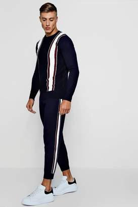 boohoo Varsity Stripe Knitted Set
