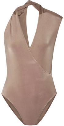 Cushnie et Ochs - Twisted Wrap-effect Stretch-jersey Bodysuit - Taupe $595 thestylecure.com