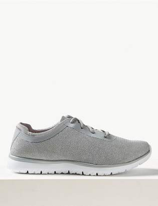 Marks and Spencer Shimmer Wide Fit Lace-up Trainers