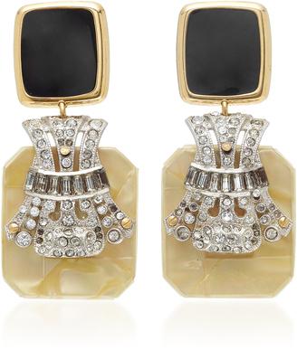 M'O Exclusive Vintage Enamel And Art Deco Crystal Earrings
