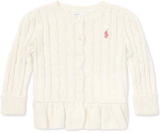 Polo Ralph Lauren Baby Girls Cable Cotton Peplum Cardigan