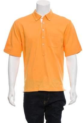 Black Fleece Button -Down Collar Pique Polo Shirt