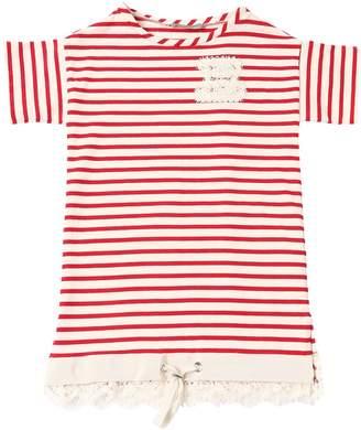 Ermanno Scervino Striped Cotton Interlock Dress W/ Lace