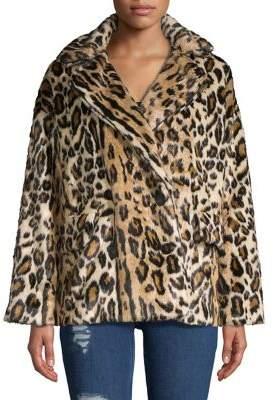 Free People Leopard Faux-Fur Coat