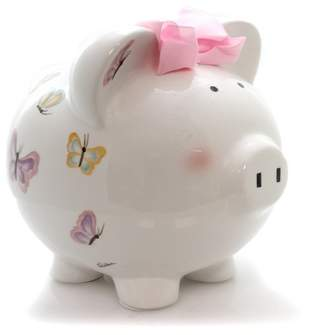 "Child to Cherish 7.5"" Petite Papillon Pig Bank Butterflies Money"